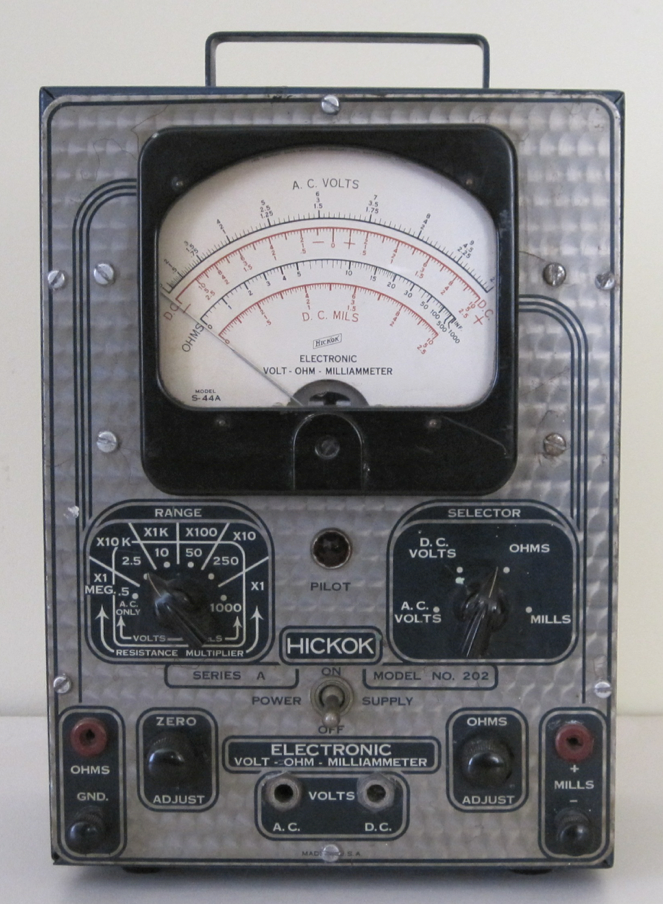 An old electronic volt tester for radios